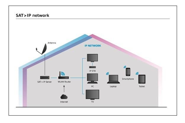 Schemat - jak działa SAT>IP w gospodarstwie domowym /materiały prasowe