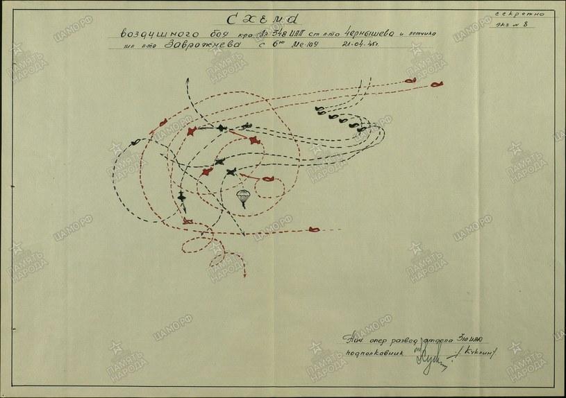 Schemat walki powietrznej stoczonej 21 kwietnia 1945 r. sporządzony 19 maja 1945 r. /Odkrywca