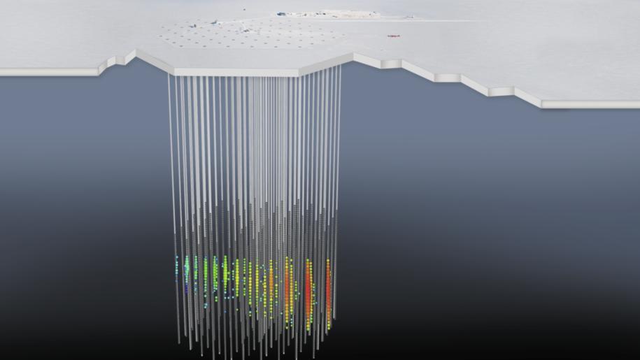 Schemat wskazań fotopowielaczy rejestrujących w laboratorium IceCube przelot neutrina /IceCube Collaboration/NSF /Materiały prasowe