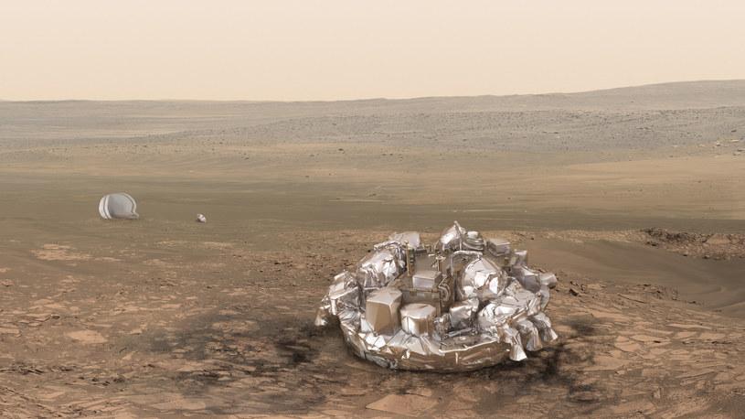 Schiaparelli na Marsie - wizualizacja /materiały prasowe