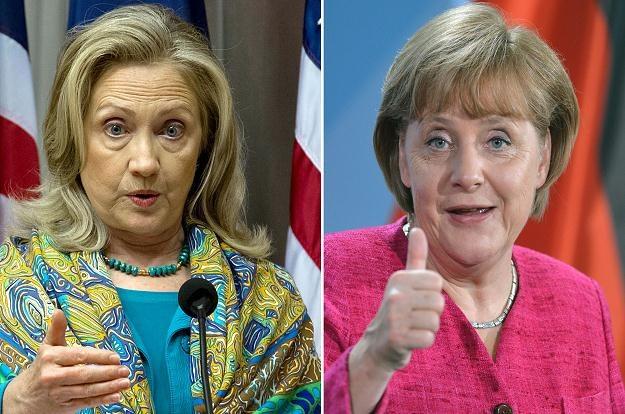 Sekretarz stanu USA Hillary Clinton (z lewej) I kanclerz Niemiec Angela Merkel /AFP
