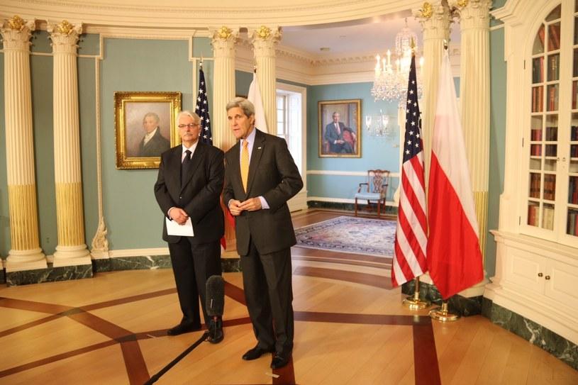 Sekretarz stanu USA John Kerry i szef polskiej dyplomacji Witold Waszczykowski /Paweł Żuchowski /RMF FM