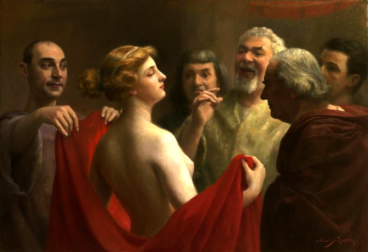 Seks w starożytnych Atenach był jedynym momentem, w którym światy kobiecy i męski ulegały zetknięciu. Żony jednak przegrywały tu na głowę ze słynnymi greckimi prostytutkami… Na ilustracji obraz pędzla José Frappy przedstawiający scenę sądu nad heterą (domena publiczna)