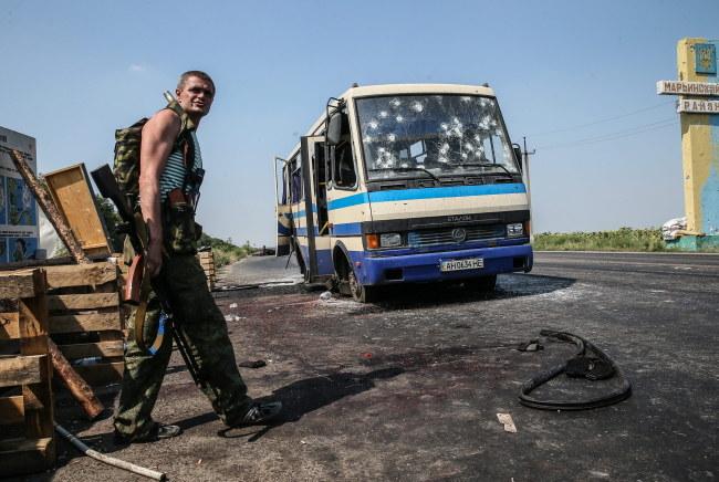 Separatysta z Prawego Sektora w pobliżu Doniecka [zdj. ilustracyjne] /PAP/EPA/SERGEI ILNITSKY /PAP/EPA