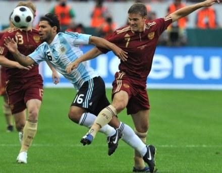 Sergio Aguero strzelił gola Rosjanom na ich terenie. Z trybun obserwował to skaut Man Utd /AFP