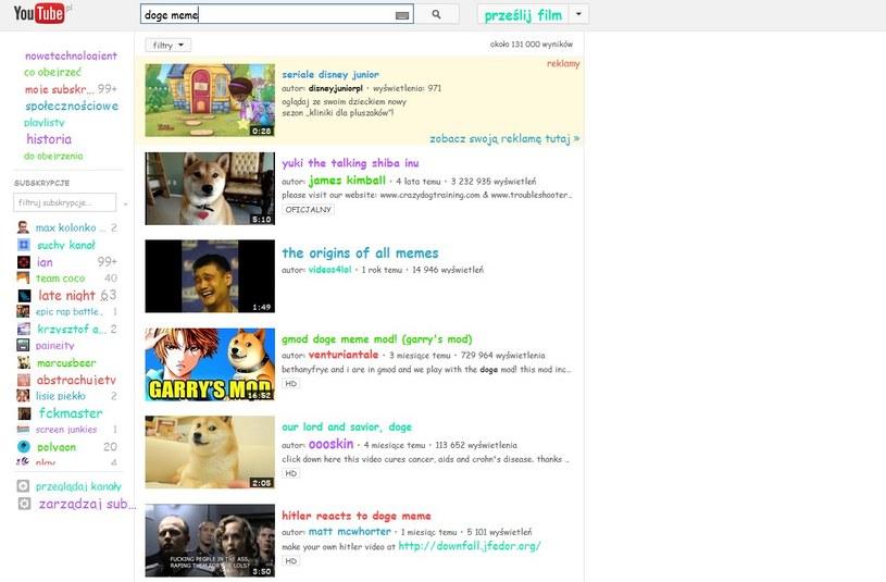 "Serwis YouTube po wpisaniu ""doge meme"". /INTERIA.PL"