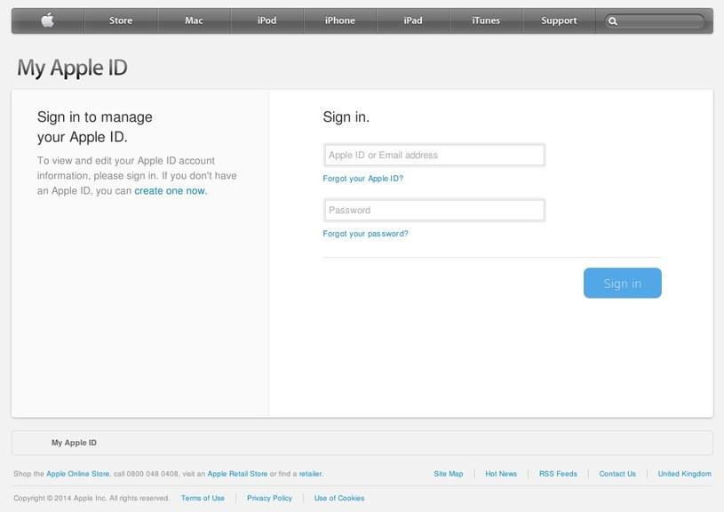 Sfałszowana strona logowania, na której cyberprzestępcy nakłaniają użytkowników do podania identyfikatora Apple ID oraz hasła. /materiały prasowe