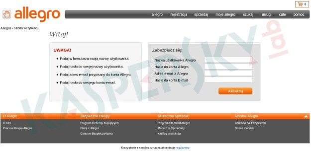 Sfałszowany formularz przygotowany przez cyberprzestępców /materiały prasowe