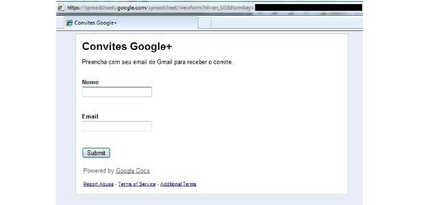 Sfałszowany formularz rzekomo pozwalający zapraszać znajomych do Google + /materiały prasowe
