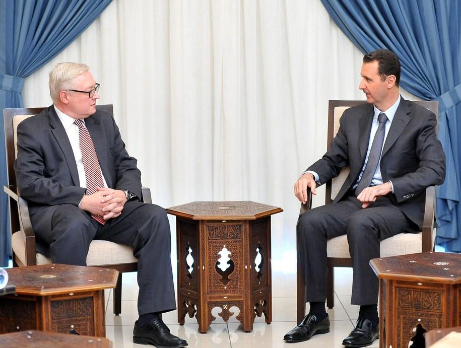 Siergiej Riabkow i Baszar el-Asad /SANA /PAP/EPA