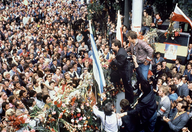 Sierpień 1980: Lech Wałęsa w Stoczni Gdańskiej fot. Jorma Puusa / Lehtikuva /AFP
