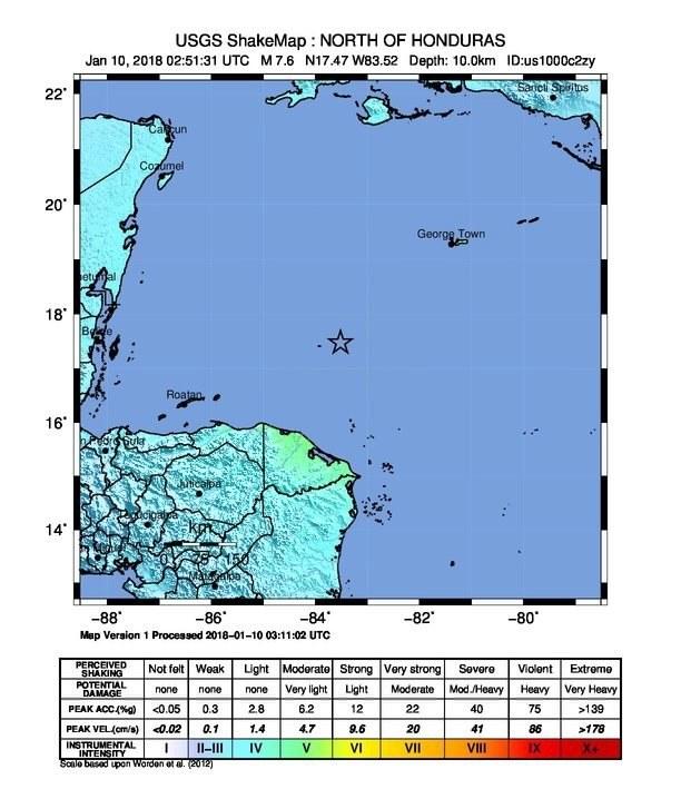 Silne trzęsienie ziemi na Karaibach /USGS /PAP/EPA