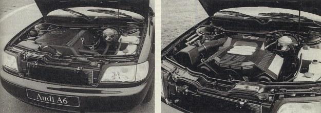 Silnik 2,5 TDI w pudełku (z lewej), ale jednak go słychać. Naciskając pedał gazu sterujemy elektroniką, która uwzględniając przepływ powietrza w kanale dolotowym (jak w układzie wtryskowym L-Jetronic) współpracuje z pompą wtryskową. Do czego doszły te diesle! Z prawej: silnik V6 2,8 dm3 pasuje idealnie do tego auta. Prócz tego jest bardzo ładny. /Motor