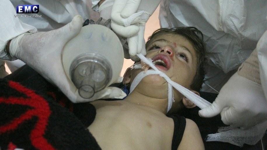 Skutki ataku gazowego w Syrii /IDLIB  /PAP/EPA