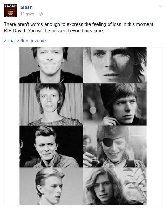 Slash wspomniał Davida Bowiego na Facebooku /&nbsp /