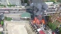 Słup wysokiego napięcia runął w wyniku pożaru