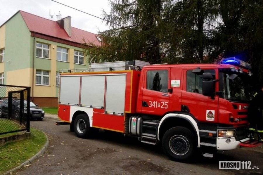 Służby przed szkołą w Odrzykoniu /Maciej Drzyzga - Krosno112.pl /
