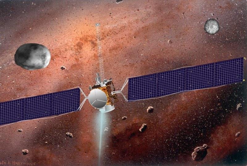 Sonda Dawn i planetoidy Westa i Ceres - wizualizacja /NASA