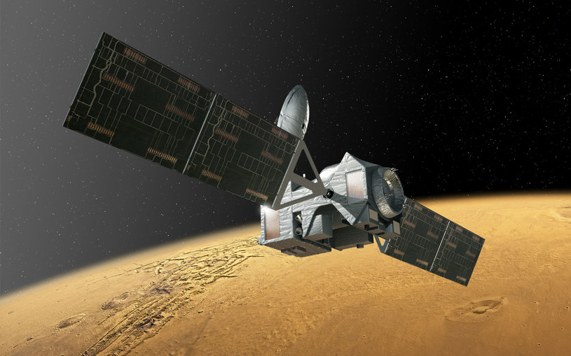 Sonda ExoMars 2016 Trace Gas Orbiter na orbicie Marsa - wizualizacja /materiały prasowe