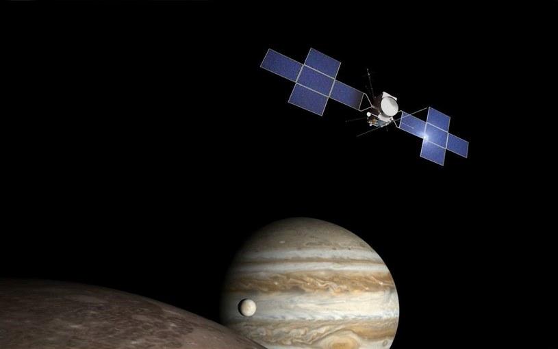 Sonda JUICE przy księżycach Jowisza – wizualizacja /materiały prasowe