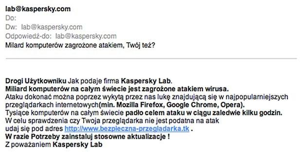 Spam podszywający się pod Kaspersky Lab /materiały prasowe