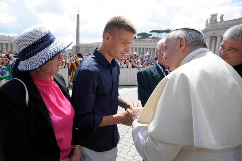 Spotkanie Tomasza Komendy z papieżem /PAP/EPA