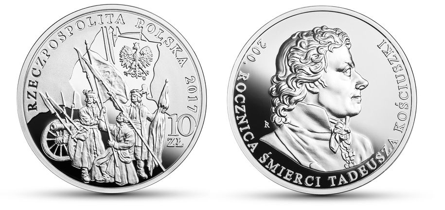 Srebrna moneta upamiętniająca 200. rocznicę śmierci Tadeusza Kościuszki /NBP.GOV.PL /