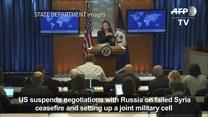 Stany Zjednoczone zawieszają rozmowy z Rosją w sprawie przywrócenia zawieszenia broni w Syrii