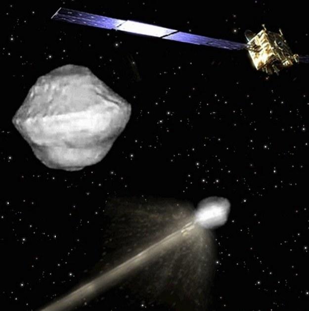 stępna koncepcja misji AIDA (oraz model planetoidy 65803 Didymos) Fot. ESA /materiały prasowe