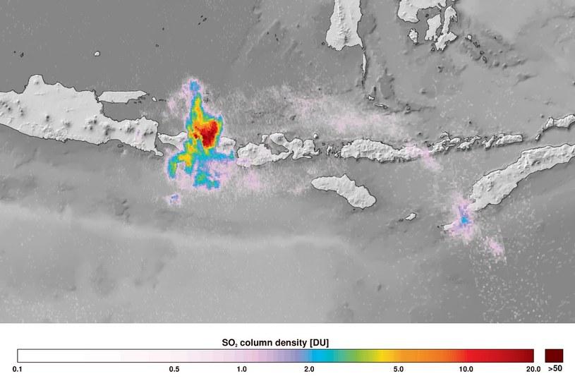 Stężenie dwutlenku siarki nad wulkanem nad Bali /materiały prasowe