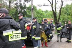 Strażacy umacniają wał przy moście Zwierzynieckim w Krakowie