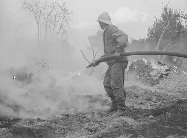 Strażak w akcji. Zdjęcie z 1968 roku /Z archiwum Narodowego Archiwum Cyfrowego