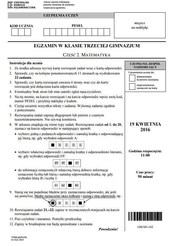 Strona 1, Egzamin gimnazjalny 2016 – matematyka /