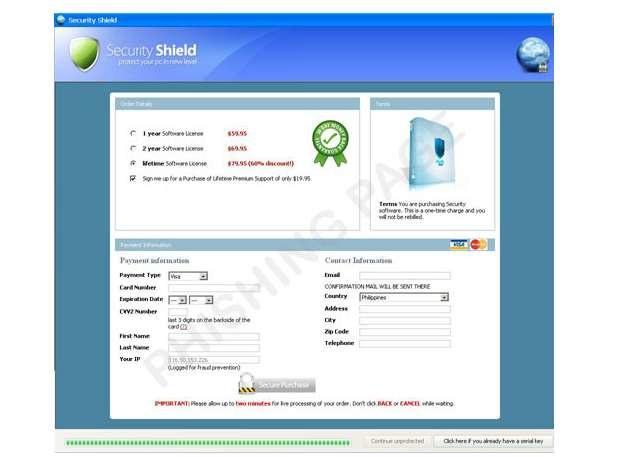 Strona do phishingu TROJ_FAKEAV.HUU /materiały prasowe