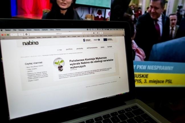 Strona internetowa łódzkiej firmy Nabino, z marcowym komunikatem spółki, w którym informuje o wygranym przetargu na usługi dla PKW /Grzegorz Michałowski /PAP