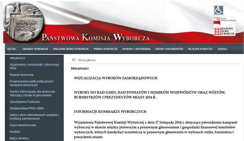 Strona internetowa PKW /