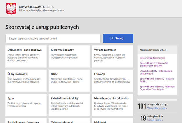 Strona obywatel.gov.pl zaprasza /INTERIA.PL