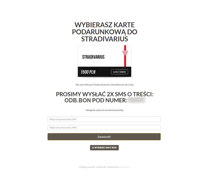 Strona wymagająca wpisania kodów otrzymanych w wiadomościach SMS /materiały prasowe