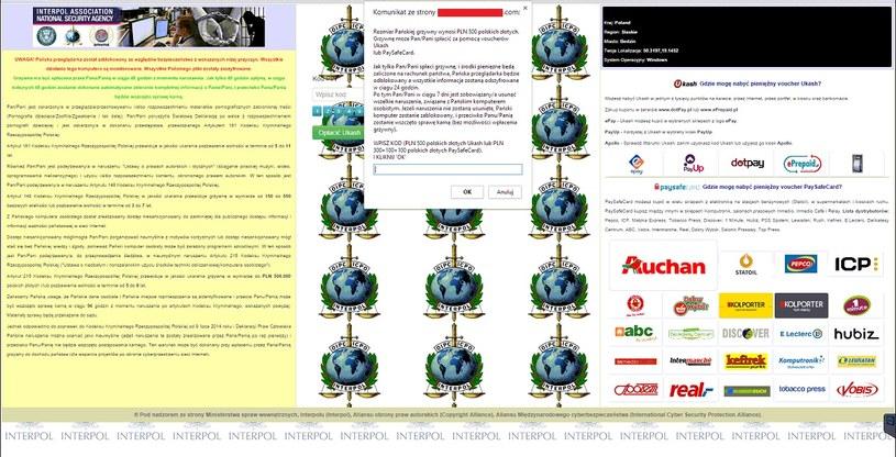 Strona żądająca okupu za odblokowanie dostępu do przeglądarki. /materiały prasowe