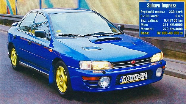 Subaru Impreza sprzed restylizacji, która miała miejsce w 1997 r., wygląda bardzo niepozornie. Jedyne detale sugerujące znaczne możliwości to liczne wloty powietrza na pokrywie silnika. /Motor