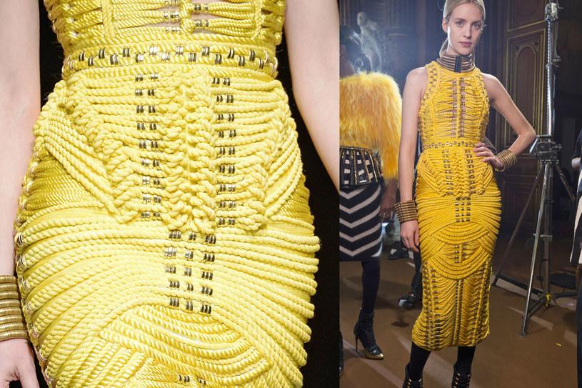 Sukienka ze sznurka z kolekcji jesień-zima 2014/2015 marki Balmain /East News/ Zeppelin