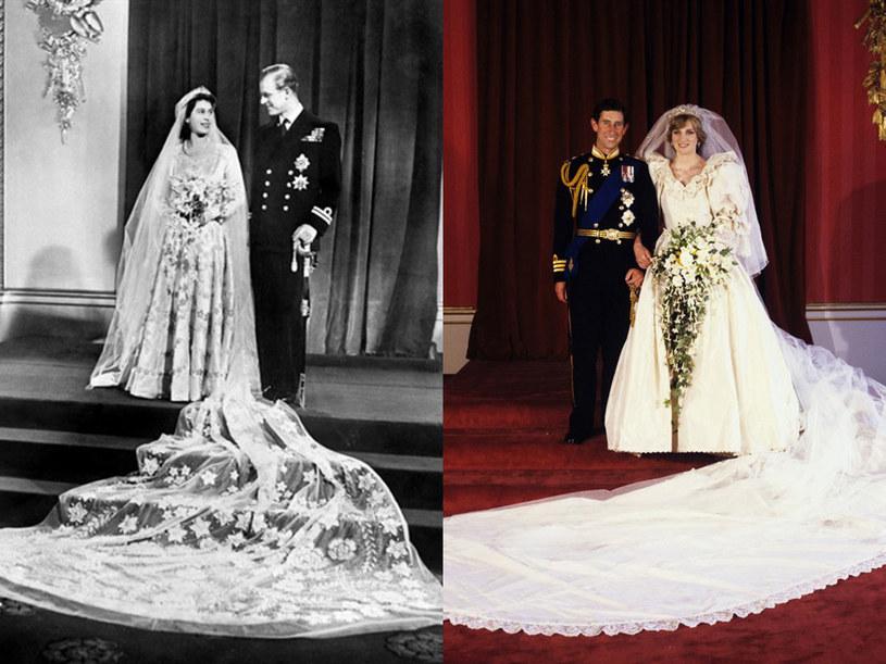 Suknie ślubne Eżbiety II i Diany Specer miały długi tren. Czy taki sam będzie miała Kate?  // East News /AFP