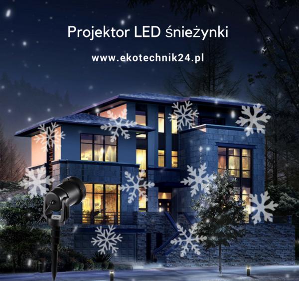 Projektor LED śnieżynki.   Niesamowity efekt białych padających płatków śniegu na fasadzie twojego domu lub firmy. Projektor LED to gwarancja bardzo fajnej iluminacji świątecznej idealnej na okres Bożego Narodzenia oraz sylwestra.   Projektor kupicie w sklepie internetowym ekotechnik24.pl
