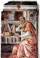 Święty Augustyn w swojej pracowni, Sandro Botticelli, fresk z kościoła Wszystkich Świętych we /Encyklopedia Internautica