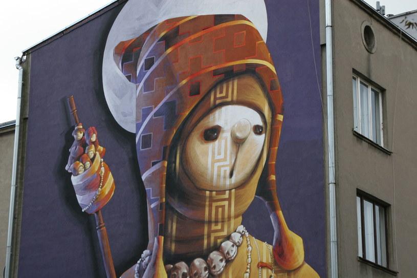 """""""Święty Wojownik"""" - mural przy ul. 28. Pułku Strzelców Kaniowskich (autor: INTI) /Ewelina Karpińska-Morek /INTERIA.PL"""