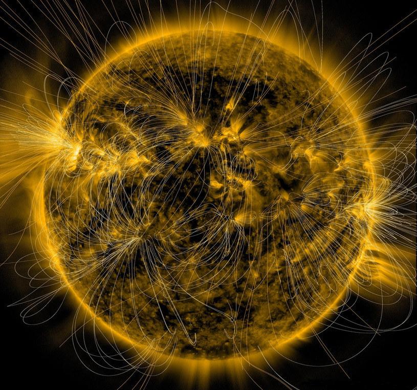 Symulacja linii pola magnetycznego wokół Słońca /NASA