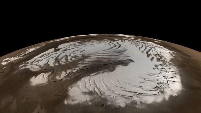 Symulacja pokrywy śnieżnej na północnym biegunie Marsa /NASA