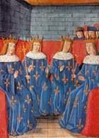 Synowie Chlodwiga I: Childebert, Chlotar, Chlodomir i Tenderyk, miniatura, 1493 /Encyklopedia Internautica