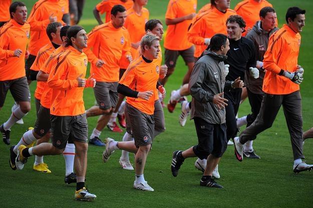 Szachtar Donieck podczas treningu na stadionie FC Barcelona, Camp Nou /AFP