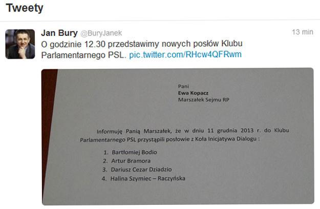 Szef klubu ludowców Jan Bury zamieścił listę nowych posłów PSL na Twitterze. /Twitter